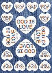 Aufkleber-Gruß-Karten: GOD IS LOVE, 4 Stück
