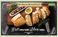 Kräuter-Dip-Postkarte - Brot teilen heißt Leben teilen.