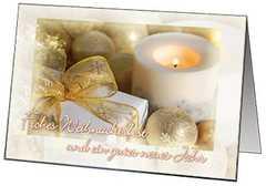 Faltkarten Weihnacht/Neujahr Kerzen, 5 Stück